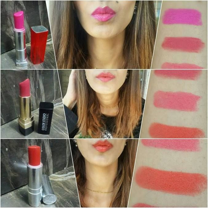 1. Maybelline Fushia Flash 902. It is a beautiful pink color. The texture is glossy and moisturises the lips aswell. Has a glossy finish. Highly pigmented. 2. Color Studio Professional Wonderland 164. It is a dusty rose color. The texture is so creamy. The finish is pure matte. Keeps the lips hydrated at the same time. What surprised me the most was the pigmentation. It is way better than a few of the high end lipsticks. 3. Luscious Rebel satin. Another dusty rose. But this one is in a glossy finish. And I love the texture it is so moisturising and hydrating. -hemayal