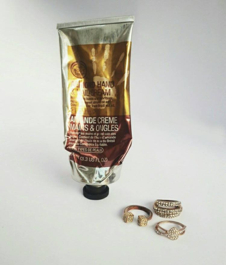 Almond hand and Nail Cream. This one is my absolute favorite as it moisturizes my hands so well and it also takes care of nails and conditions them.