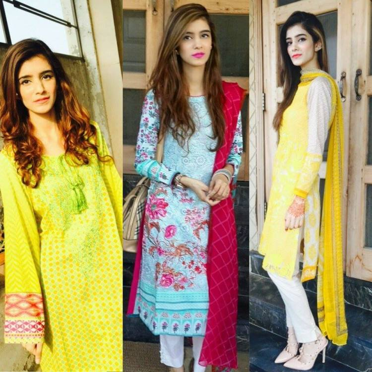 Right to Left, Sana Safinaz, Khaadi, Origins. Other than lawn net has also taken over this season and this beautiful yellow embroidered jora is the best example of it. Despite the embroidery being all over the shirt the suit is pretty light and comfortable to wear. This beautiful Khaadi ensemble is very eye catching and the flowery embroidery at the border makes it a must have for this season. Origins was kind enough to send over this elegant kurta from their Azaadi collection and I absolutely loved it. From the lively colors to the embroidery on the kurta everything was on point.
