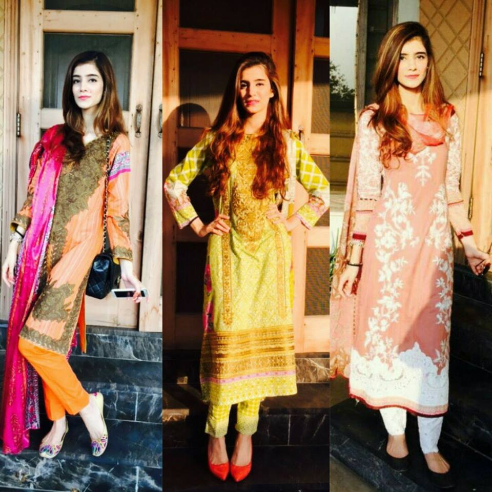 Right to left 1) Sana Safinaz 2) Elan 3) Sana Safinaz. The 1st and 3rd are my favorite from Sana Safinaz's lawn collection, the detailed embroidery work looks absolutely beautiful and not so aunty-ish at the same time. I love the Elan's jora because the colors of the suit are very lively and the print on the panel is just alluring.