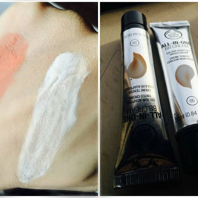 Body shops All-In-One BB cream: Light and Dark shade. I use this color adapting tinting cream in the light and the dark shade, i use the light one for normal days light coverage and the dark one if i ever feel like trying any tan look. Again, this light coverage sets pretty nicely in the skin and doesnt fill the lines in between or cake up. BB creams are a blessing as they give amazing coverage without having to moisturize or waste time in applying a primer on your face, its just one thing and you're good to go with a little blush on and a gloss!